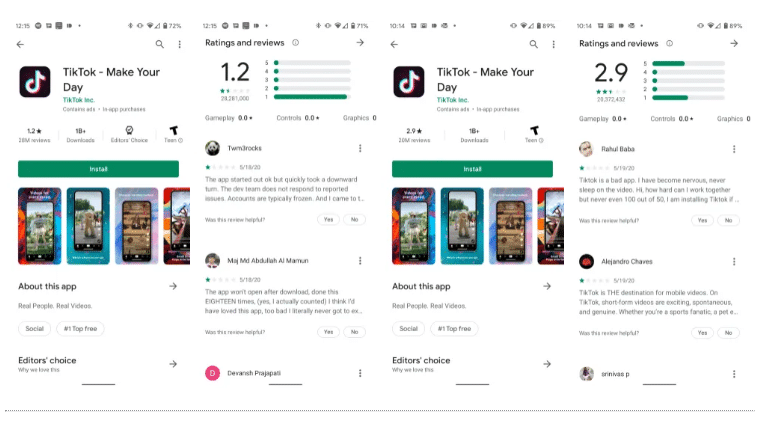 Google removes millions of negative TikTok rating